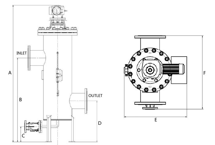 全自动刷式自清洗过滤器外形示意图